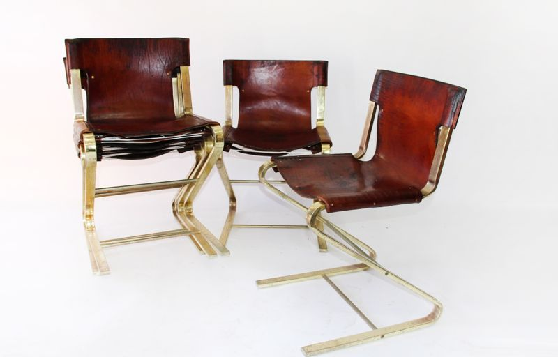 Italian Brass And Leather Chairs
