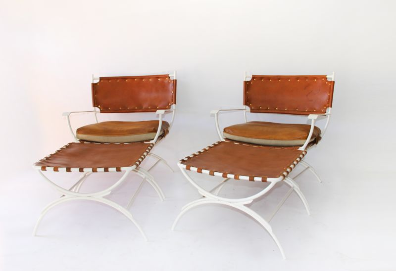 Custom Bent Iron Frame Lounge Chairs With Ottoman, Powder Coated White.  With Custom Leather And Linen Slings And Cushioning With Brass Rivet Detail  By Jason ...
