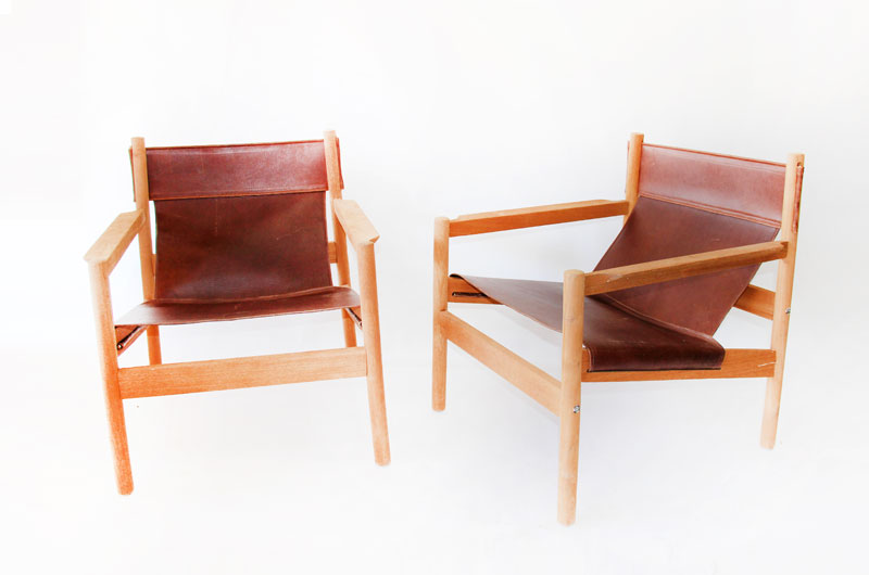 Surprising Pair Of Roxinho Michel Arnoult Leather Sling Chairs Cjindustries Chair Design For Home Cjindustriesco