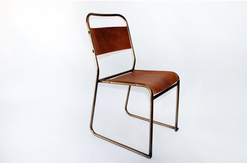 Vintage Tubular Steel Frame Side Chair. With Custom Bronze Plated Frame And  Custom Patina Saddle Leather Sling Back And Seat. Condition Is Cosistant  With ...